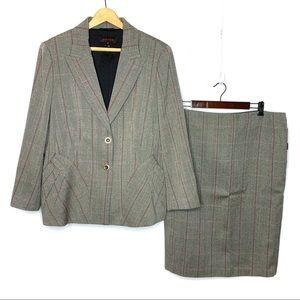 Escada Windowpane Plaid 100% Wool Skirt Suit Set